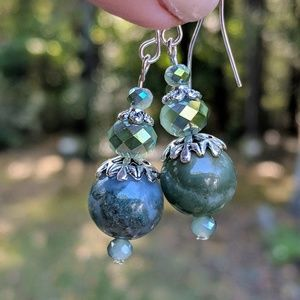 Handmade earrings with green agates and crystals